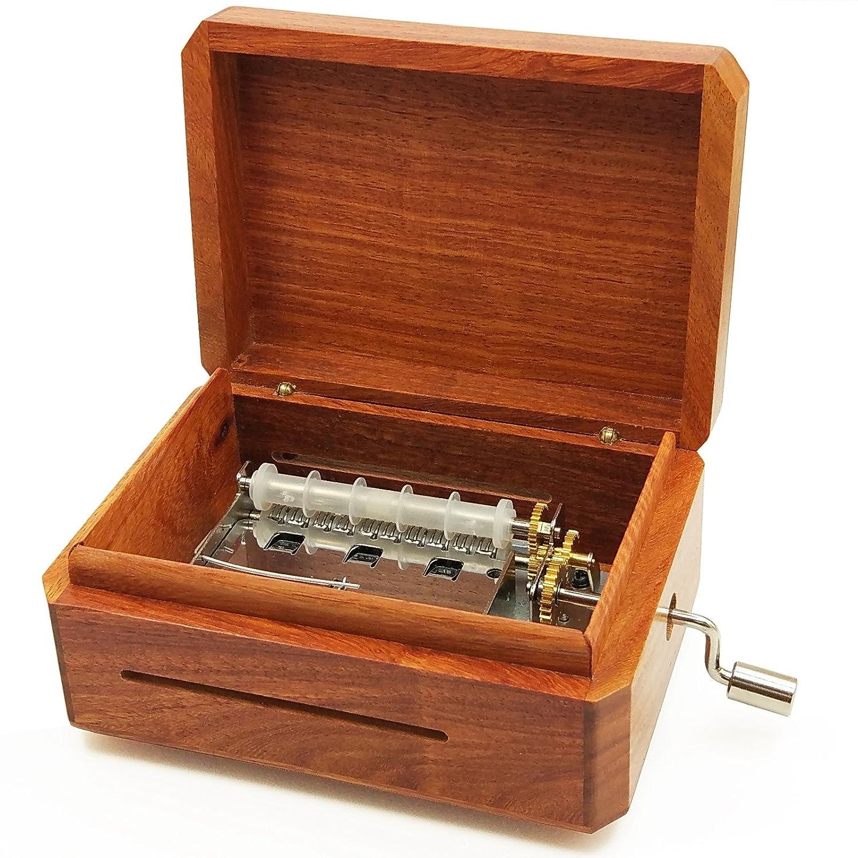 Wingostore Spieldosen-Werk, 30 Noten, mit Handkurbel, Kupfer ausrüstung (With Burma padauk Box3)