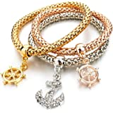 Hot And Bold Gold Plated Multi Layer/Combo Dangling Charms Bracelet For Women & Girls. Daily/Party Wear Fashion Jewellery.