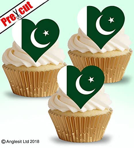 Torten Topper 12 Stuck Herzform Mit Pakistan Flagge