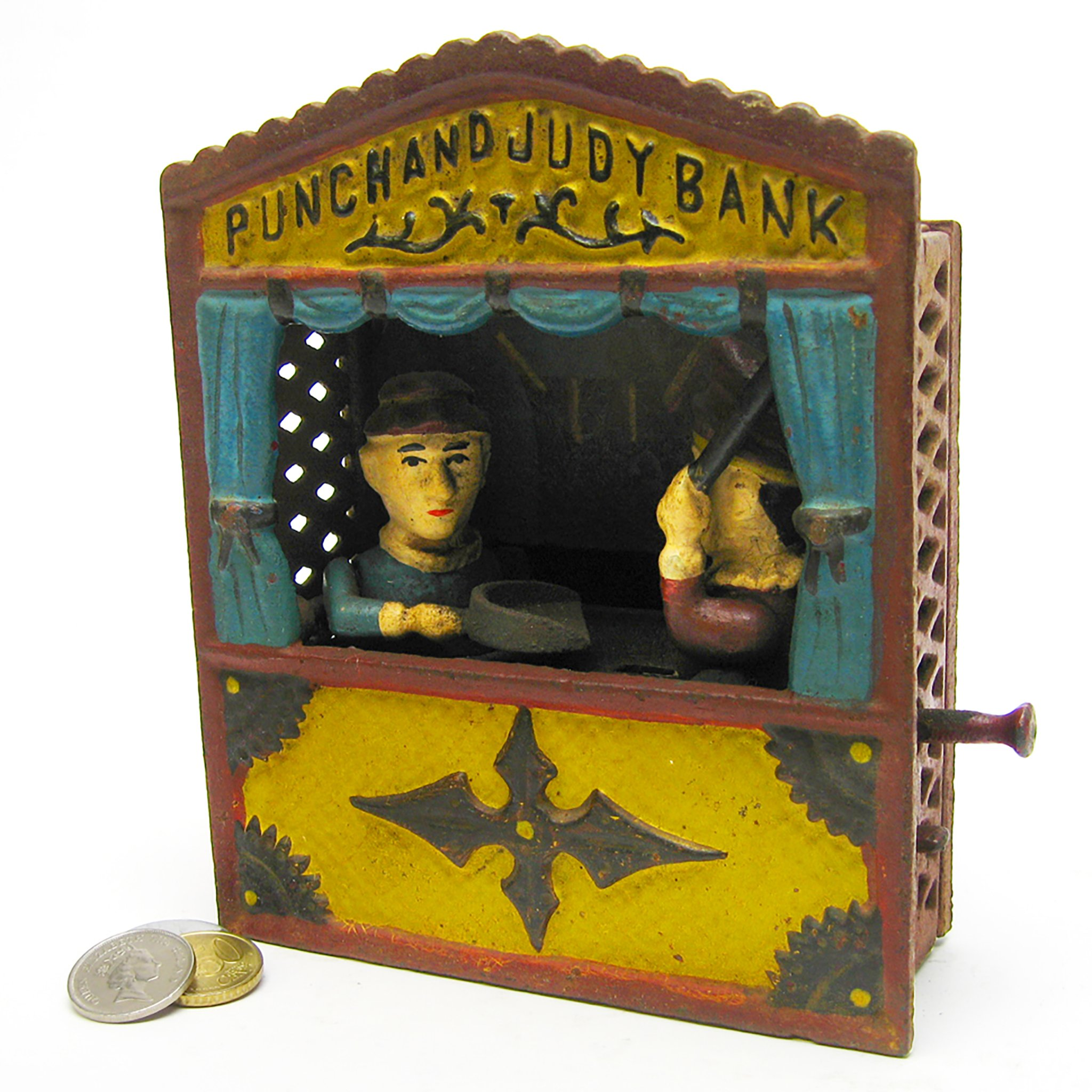 Design Toscano Punch and Judy Theater Collectors' Die Cast Iron Mechanical Coin Bank