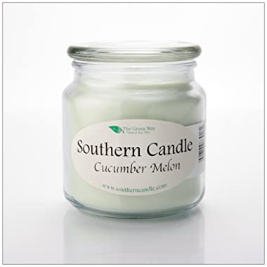 Cucumber Melon 16 oz Decorator Jar Natural Soy Wax Candle