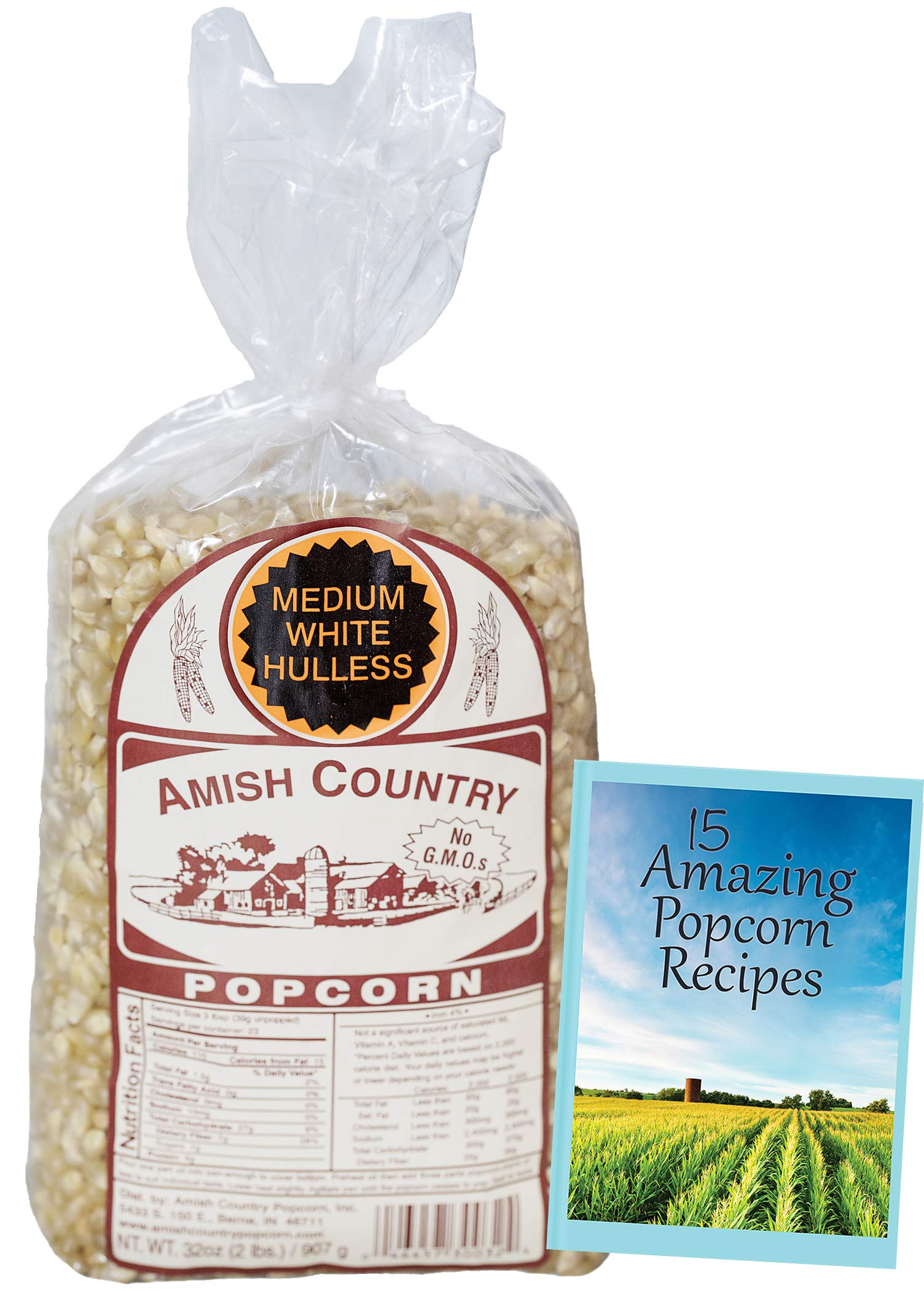 Amish Country Popcorn - Medium White Popcorn (2 Pound Bag) Old Fashioned, Non GMO, and Gluten Free - with Recipe Guide by Amish Country Popcorn (Image #2)