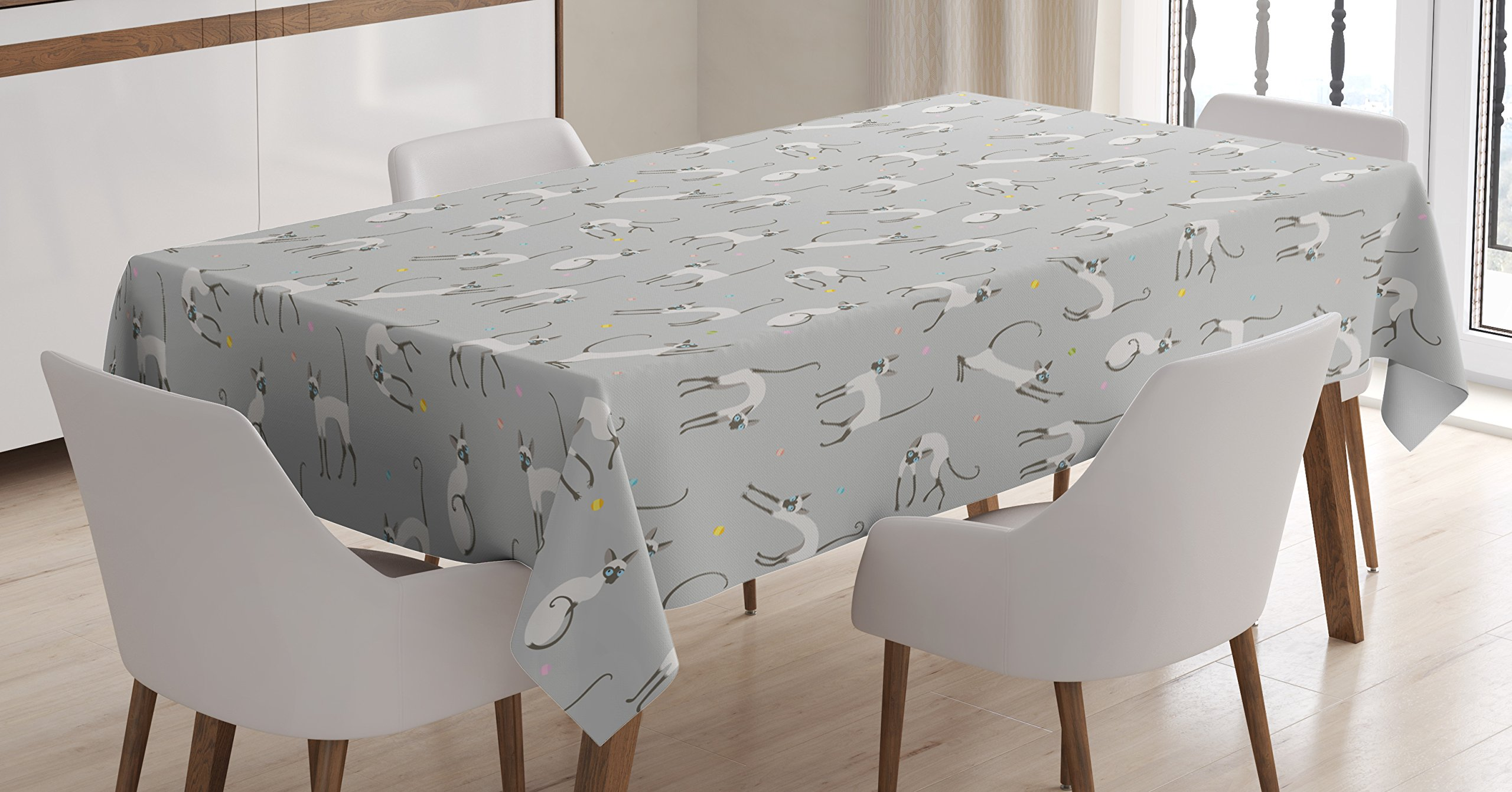 Ambesonne Grey Tablecloth, Cute Siamese Cat on Wall Design Playing and Posing Feline Asian Kitty Animal Design, Dining Room Kitchen Rectangular Table Cover, 60 W X 90 L inches, Pale Grey