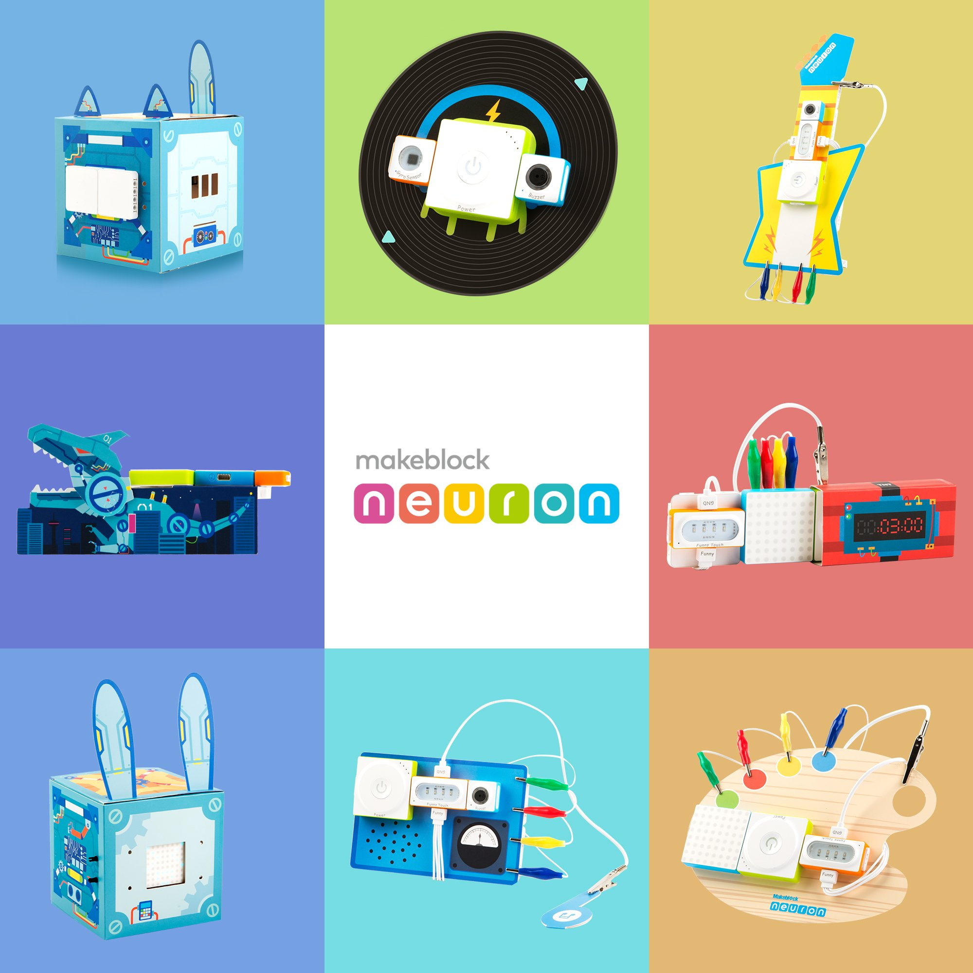 Makeblock Neuron Inventor Kit, STEAM Education, Graphical Programming, Magnetic Pogo Pins for 6 Year & up Kids+ with 6 Basic Blocks, Over 10 Kinds of Funny Robots, Like Rabbit,Dashing Raptor by Makeblock (Image #4)