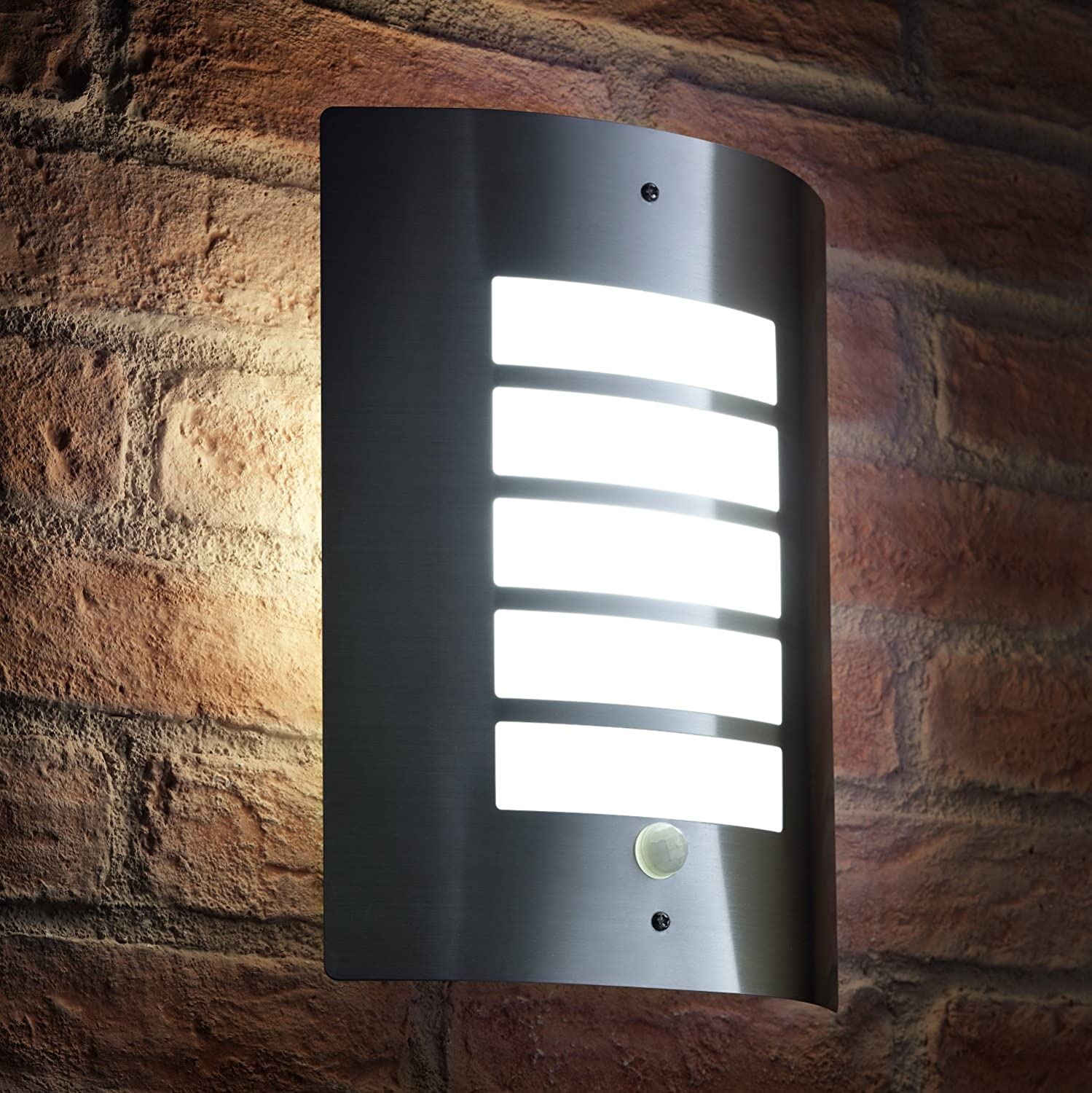 Outdoor IP44 Up or Down Wall Light Silver Auraglow Super Bright Indoor