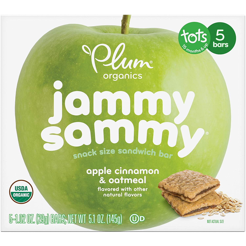 Plum Organics Jammy Sammy Apple Cinnamon & Oatmeal, 5.1 oz, 5 Count