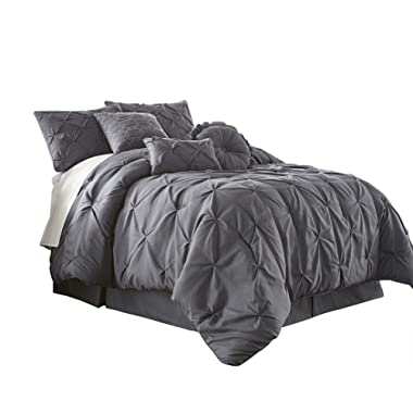 Chezmoi Collection Com Sydney 7-Piece Pintuck Bedding Comforter Set (King, Gray)