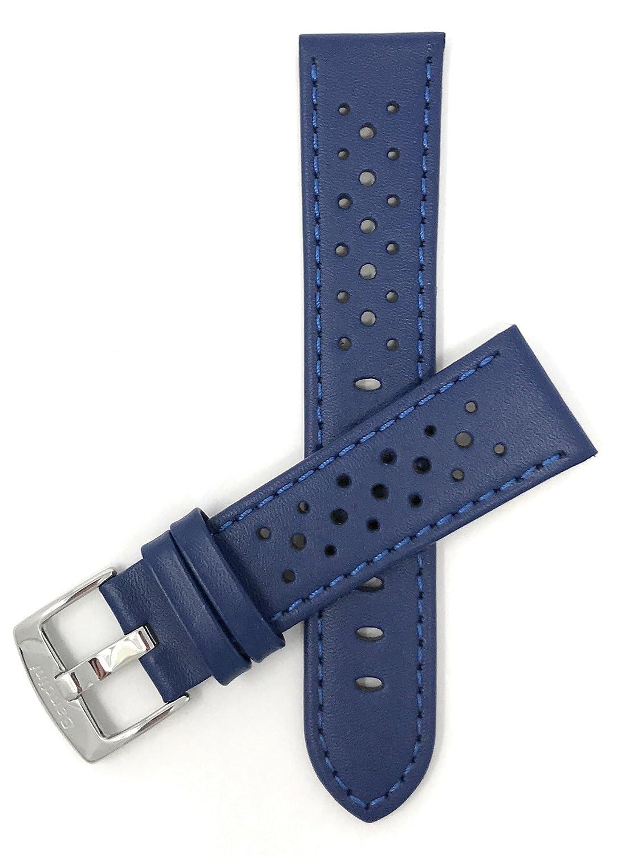 (バンディニ) Bandini 通気孔付き本革製腕時計バンド レーサー ステンレス製バックル付き 18~24mm 選べるカラー 24MM ブルー B01BB37K0W 24MM|ブルー ブルー 24MM
