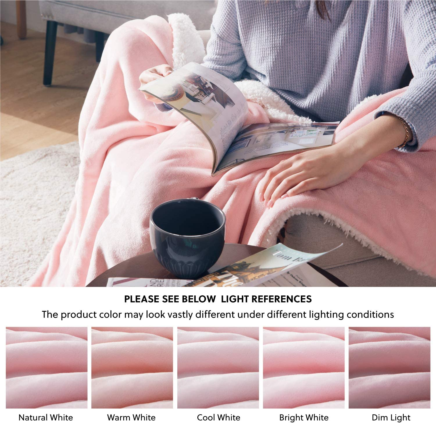 Fleece Bed Blankets Warm Fluffy Reversible Microfiber Solid Blankets for Sofa and Couch Bedsure Sherpa Blanket Pink Double//Twin Size 150 x 200cm