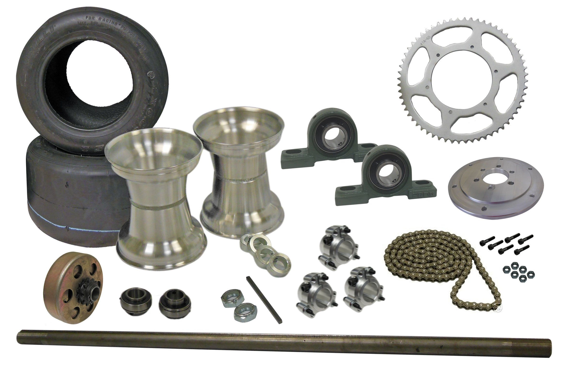 Drift Trike Axle Kit with Tires, Rims & Clutch (#35 Chain), 40'' Axle with Pillow Block Bearings
