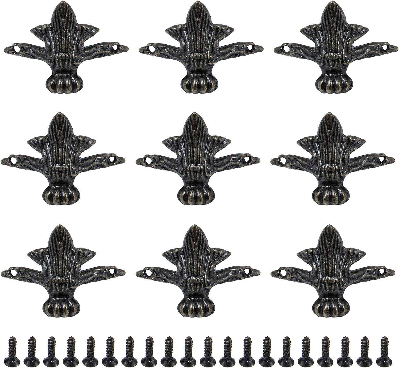 AUEAR, 20 Pack Antique Brass Wood Case Jewelry Chest Storage Box Decorative Hardware Feet Leg Corner Protector