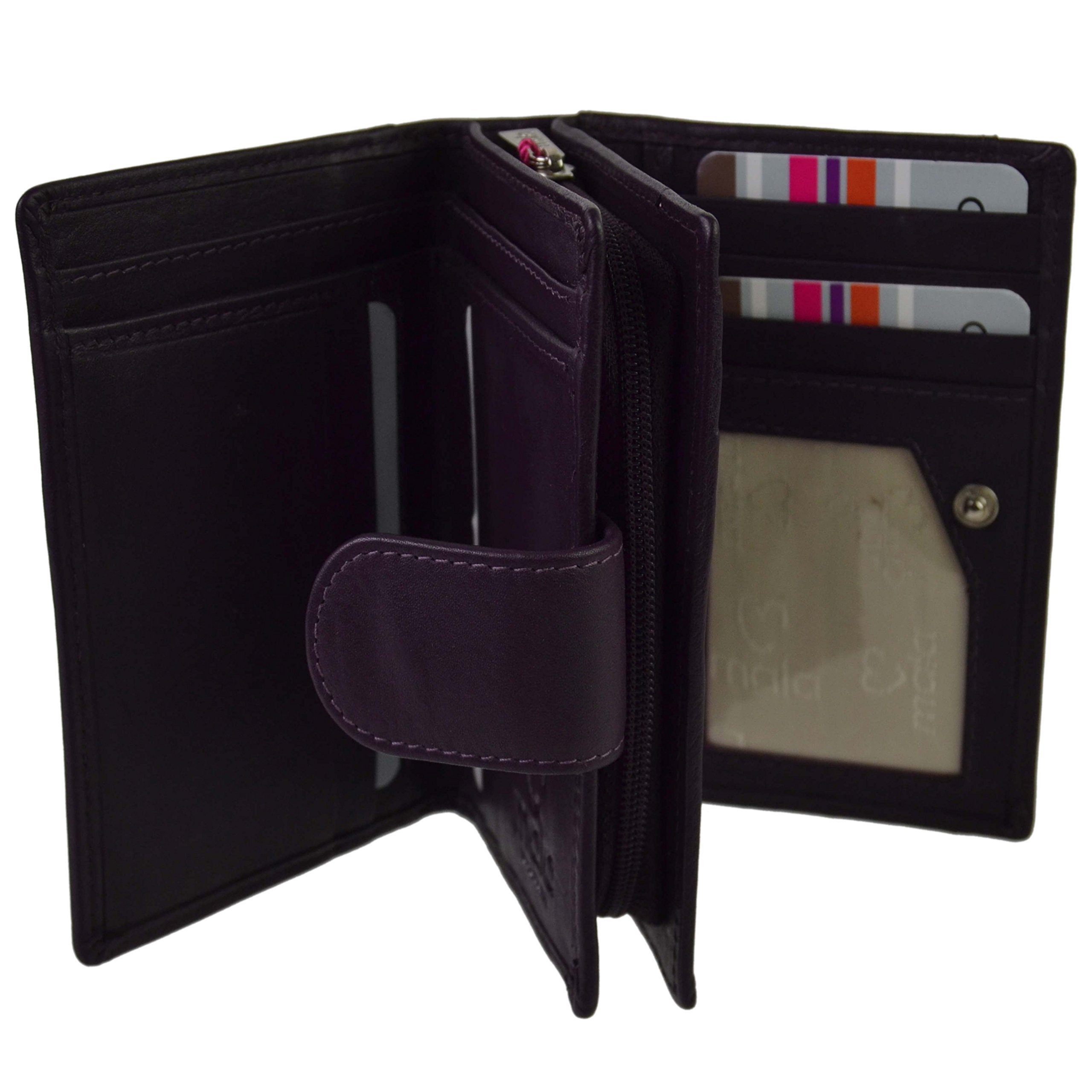 Mala Leather Women's Compact Leather Tabbed Rfid Protection Purse/Wallet One Size Plum