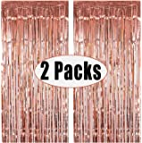 FECEDY 2pcs 3ft x 8.3ft Rose Gold Metallic Tinsel Foil Fringe Curtains Photo Booth Props for Birthday Wedding Engagement Bridal Shower Baby Shower Bachelorette Holiday Celebration Party Decorations