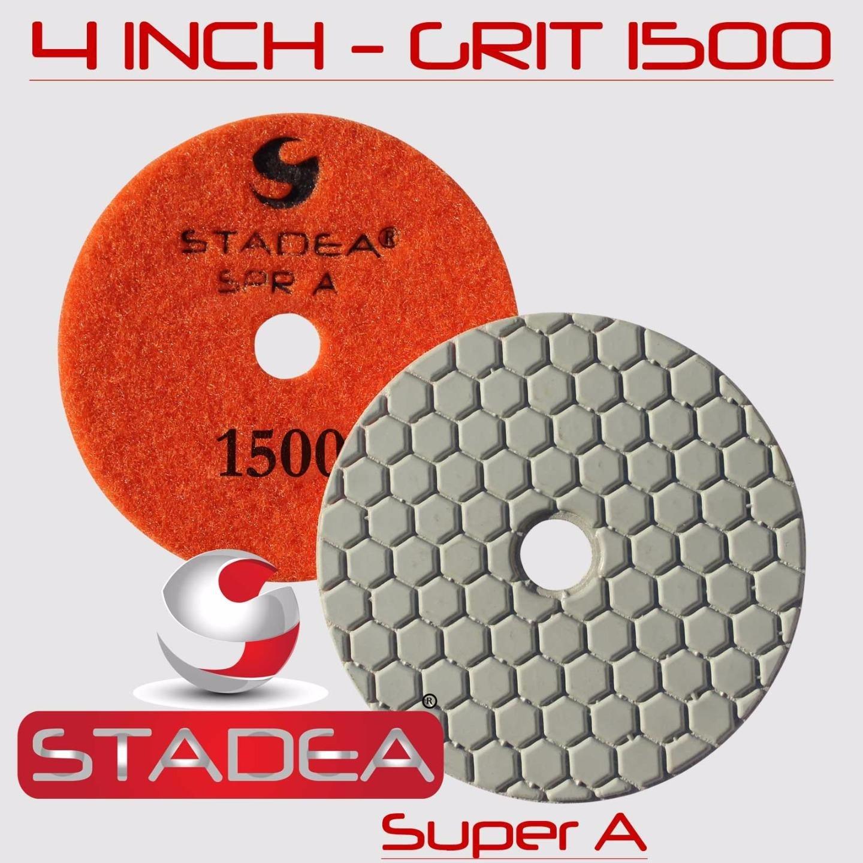 STADEA 4'' Dry Diamond Polishing Pads for granite Marble Concrete Stone Granite Tile Polishing Kit - 5 Pcs Pads, 1 Rubber Backer (5/8'' 11) Set by STADEA (Image #8)