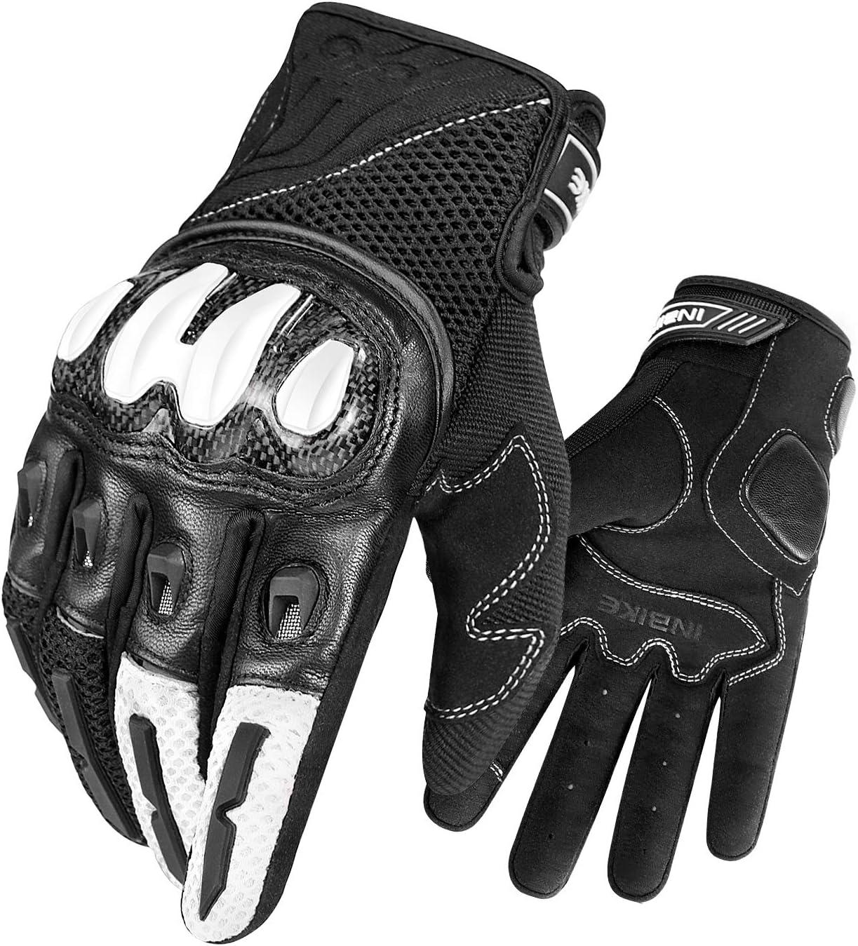 INBIKE Atmungsaktiv Motorradhandschuhe Touchscreen Handschuhe Aus Hochwertigen Ziegenleder und Mesh Professionelle Schutzausr/üstung bietet umfassenden Schutz