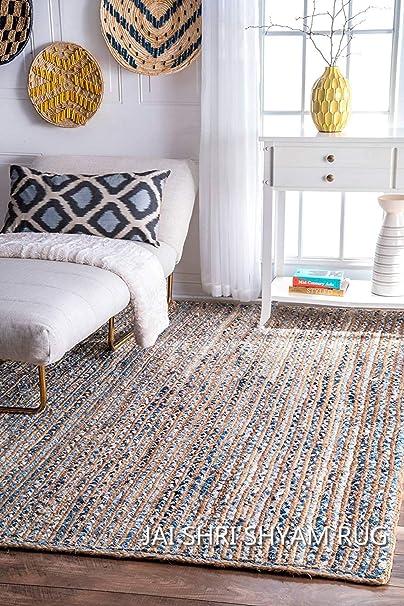 Jai Shri Shyam,Jute Denim,Braided Area Rug/Carpet/Handmade Floor Rug 3×5 ft