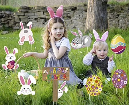 Amazon Com Luckkyy 8 Pieces Easter Yard Signs Decorations Outdoor Bunny Eggs Yard Stake Signs Easter Lawn Yard Decorations For Easter Hunt Game Easter Party Supplies Garden Outdoor