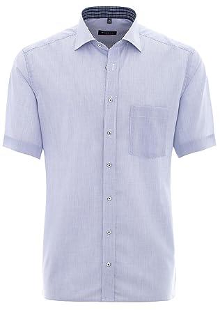 meet 86b50 07232 eterna Herrenhemd Kurzarm Modern Fit Blau kariert Businesshemd Elegantes  Herren Hemd Freizeithemd Baumwollhemd