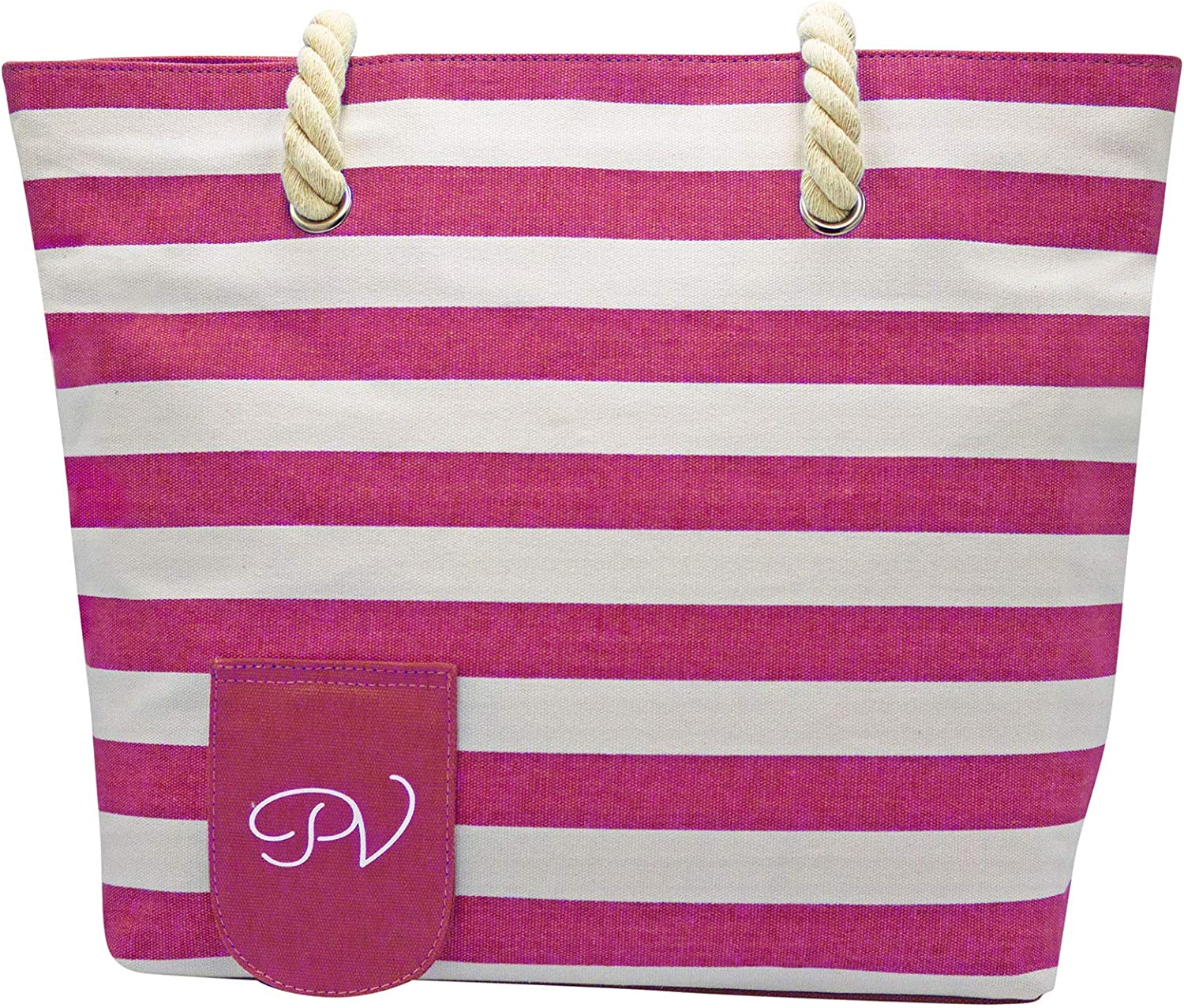 PortoVino Beach Wine Purse (Blue/White) - Beach Tote with Hidden, Insulated Compartment, Holds 2 Bottles of Wine! / Great Gift! / Happiness Guaranteed! Pink & White