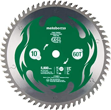 Metabo Hpt 10 Inch Miter Saw Table Saw Blade 60t Fine Finish 5 8 Arbor Large Micrograin Carbide Teeth 5800 Max Rpm 115435m Amazon Com