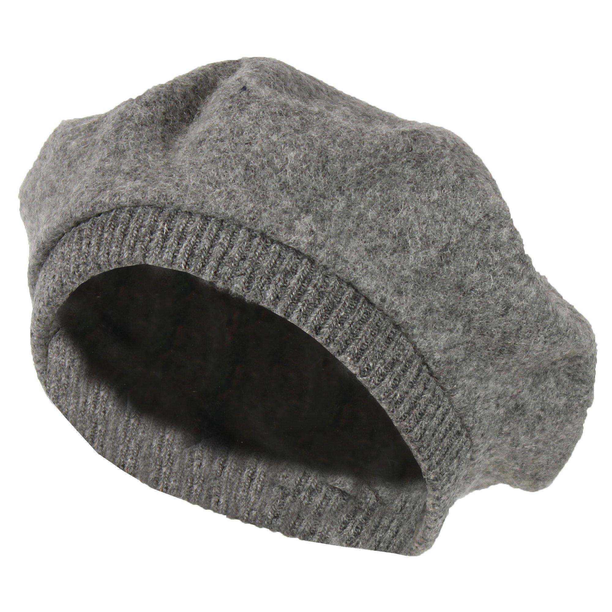 Grey 100% Wool French Beret Hat w/ Knit Cuff – Slouchy Winter Beanie Cap