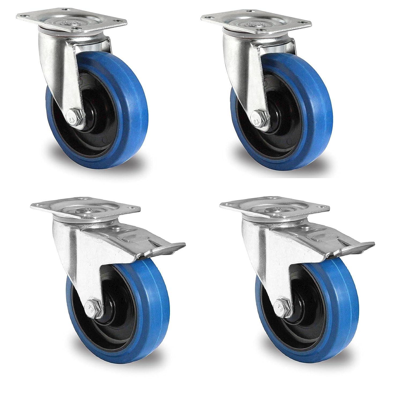 1 Satz Blue Wheels Lenkrollen 160mm 300kg/Rolle NEU Lenk/FS DELEX-Rollen