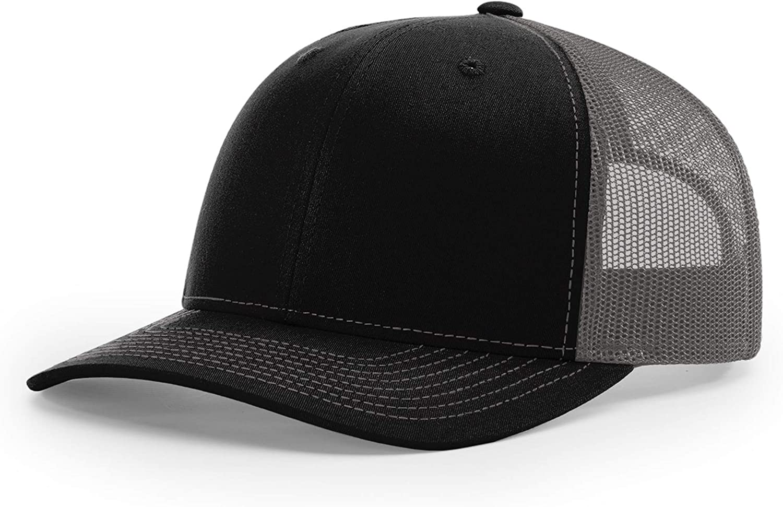 Richardson Unisex 112 Trucker Adjustable Snapback Baseball Cap, Split Black/Charcoal, One Size Fits Most