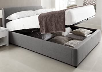 Serenity Upholstered Ottoman Storage Bed - Grey - Double Bed Frame Only & Serenity Upholstered Ottoman Storage Bed - Grey - Double Bed Frame ...