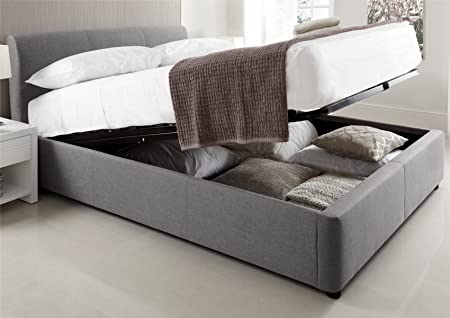 Serenity Upholstered Ottoman Storage Bed   Grey   Double Bed Frame Only