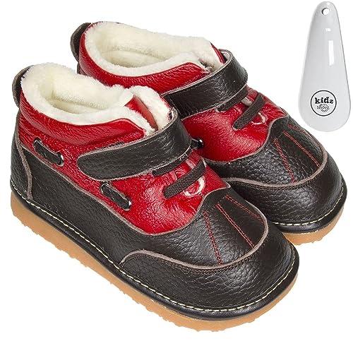 f670352f3159e Freycoo – Garçon Toddler Infant couineur Cuir véritable Cheville Bottes –  Marron et Rouge avec Polaire