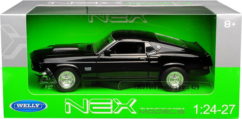 Welly Ford Mustang Boss 429 Coupe Schwarz Typ I 3 Generation 1969-1970 1//24 Modell Auto mit individiuellem Wunschkennzeichen