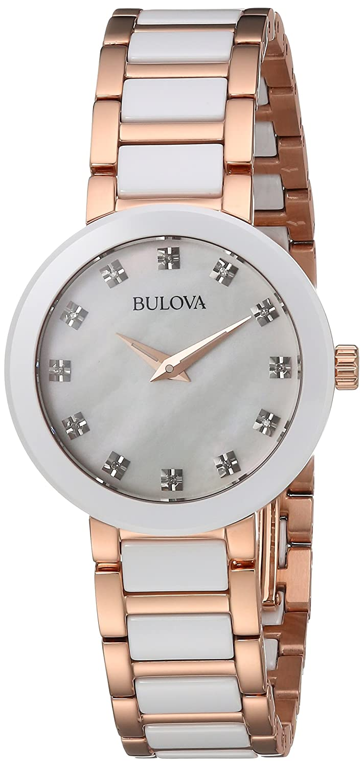 Amazon.com: Bulova Womens Quartz Ceramic and Stainless Steel Casual Watch, Color:Two Tone (Model: 98P160): Watches