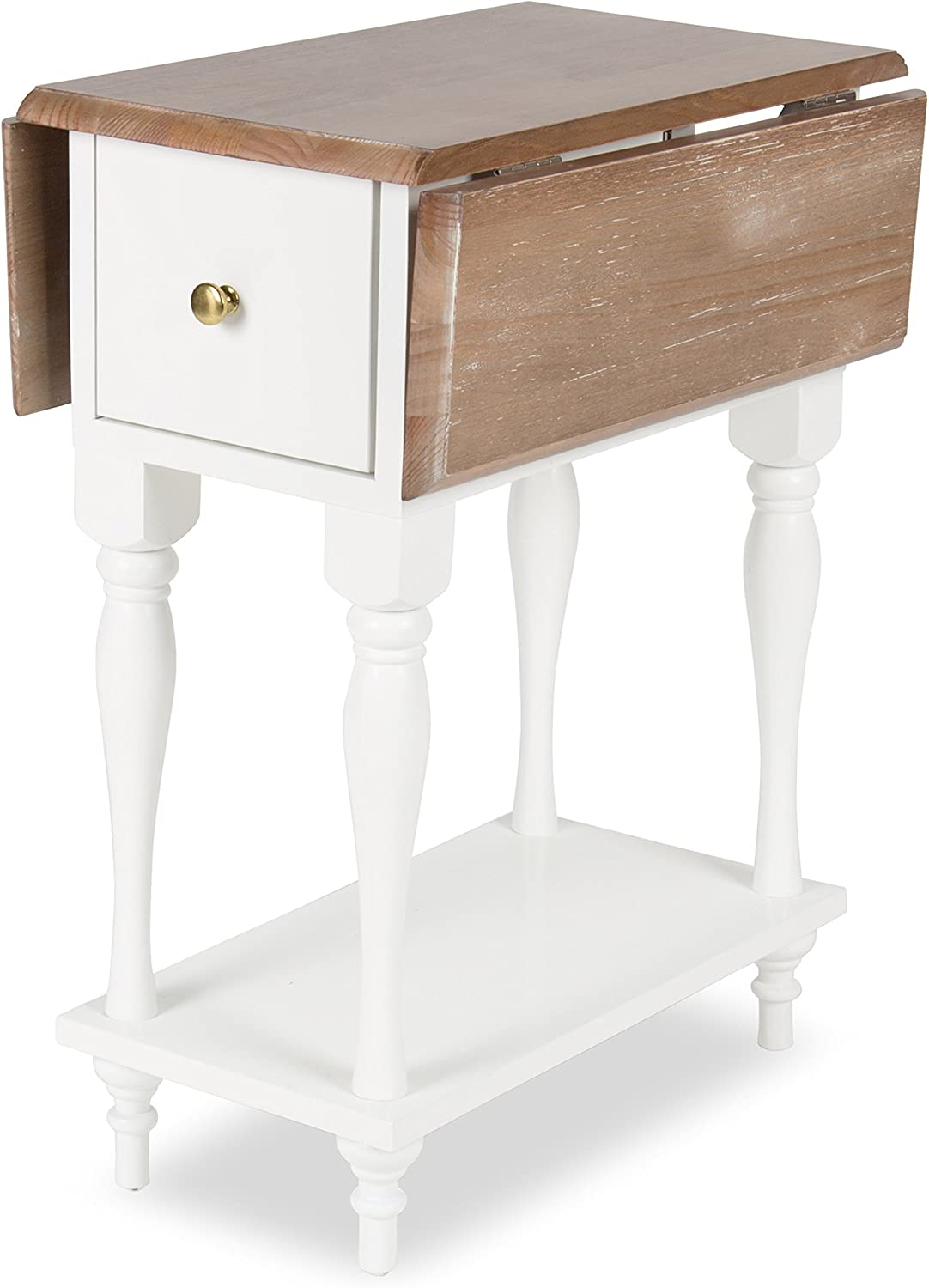 Kate and Laurel Sophia Drop Leaf End Table with 2 Drawers, 12.5x19.5x25.5, Rustic Brown/White
