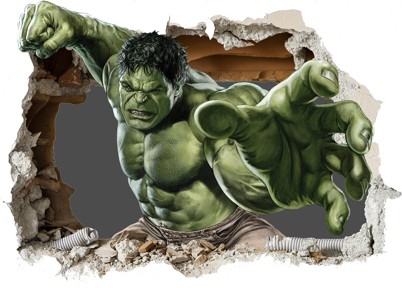 Marvel Avengers Iron Man Hulk Fight 3d Smashed Mur Vue Autocollant Poster Vinyle Z9