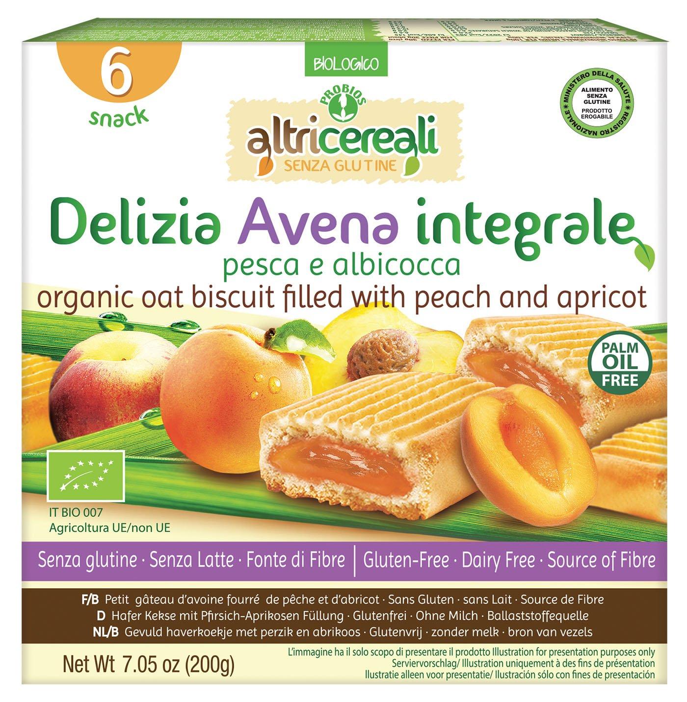 Probios AltriCereali Galleta de Avena Rellena con Melocotón y Albaricoque - Paquete de 10 x 200 gr - Total: 2000 gr