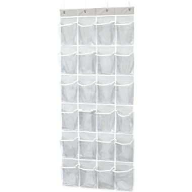 Simple Houseware 24 Pockets Large Clear Pockets Over The Door Hanging Shoe Organizer, Gray (60  x 22.5 )