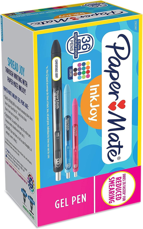 Paper Mate Inkjoy 10 colores divertidos para estudiantes colores divertidos Bol/ígrafo de gel con tapa