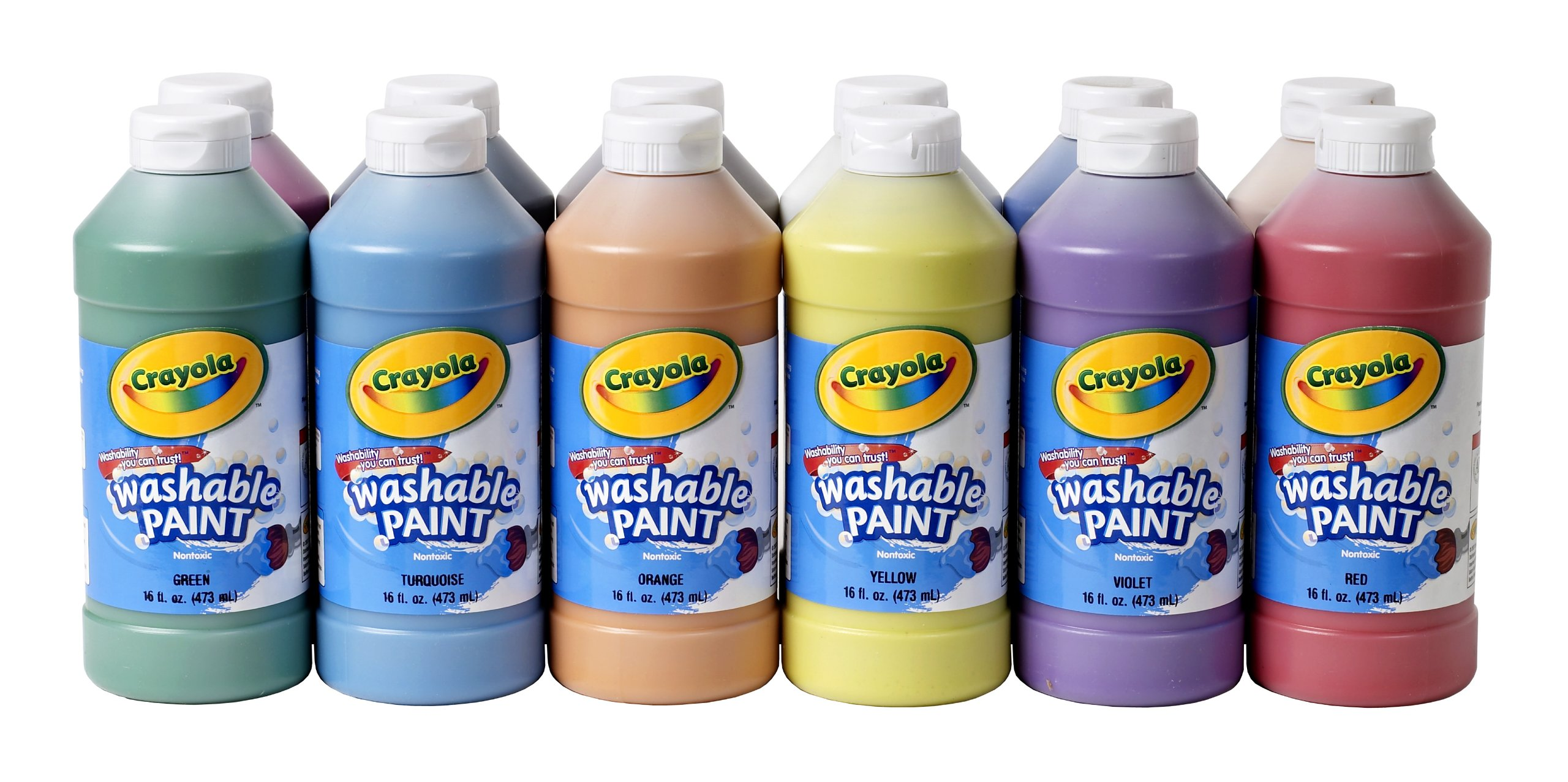 Crayola Washable Paint, 16 Oz Plastic Squeeze Bottles, 1 Each of 12 Assorted Colors by Crayola