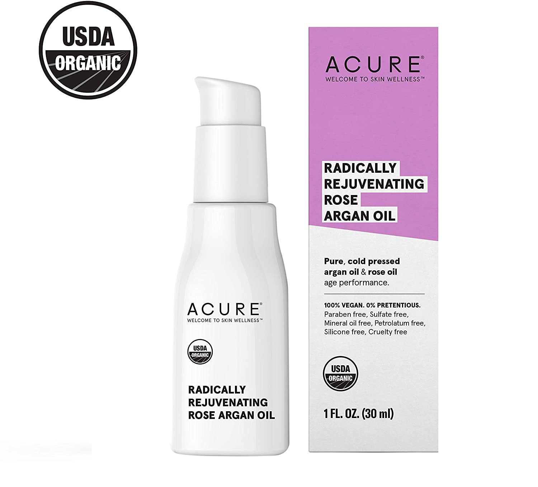 ACURE Radically Rejuvenating Rose Argan Oil   100% Vegan   Provides Anti-Aging Support   Pure, Cold Pressed & Rich in Vitamin E - Hydrates & Restores   1 Fl Oz
