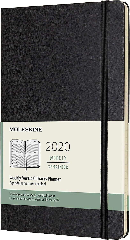 Moleskine - Agenda semanal vertical de 12 meses 2020, tapa dura y goma elástica, color negro, tamaño grande 13 x 21 cm, 144 páginas