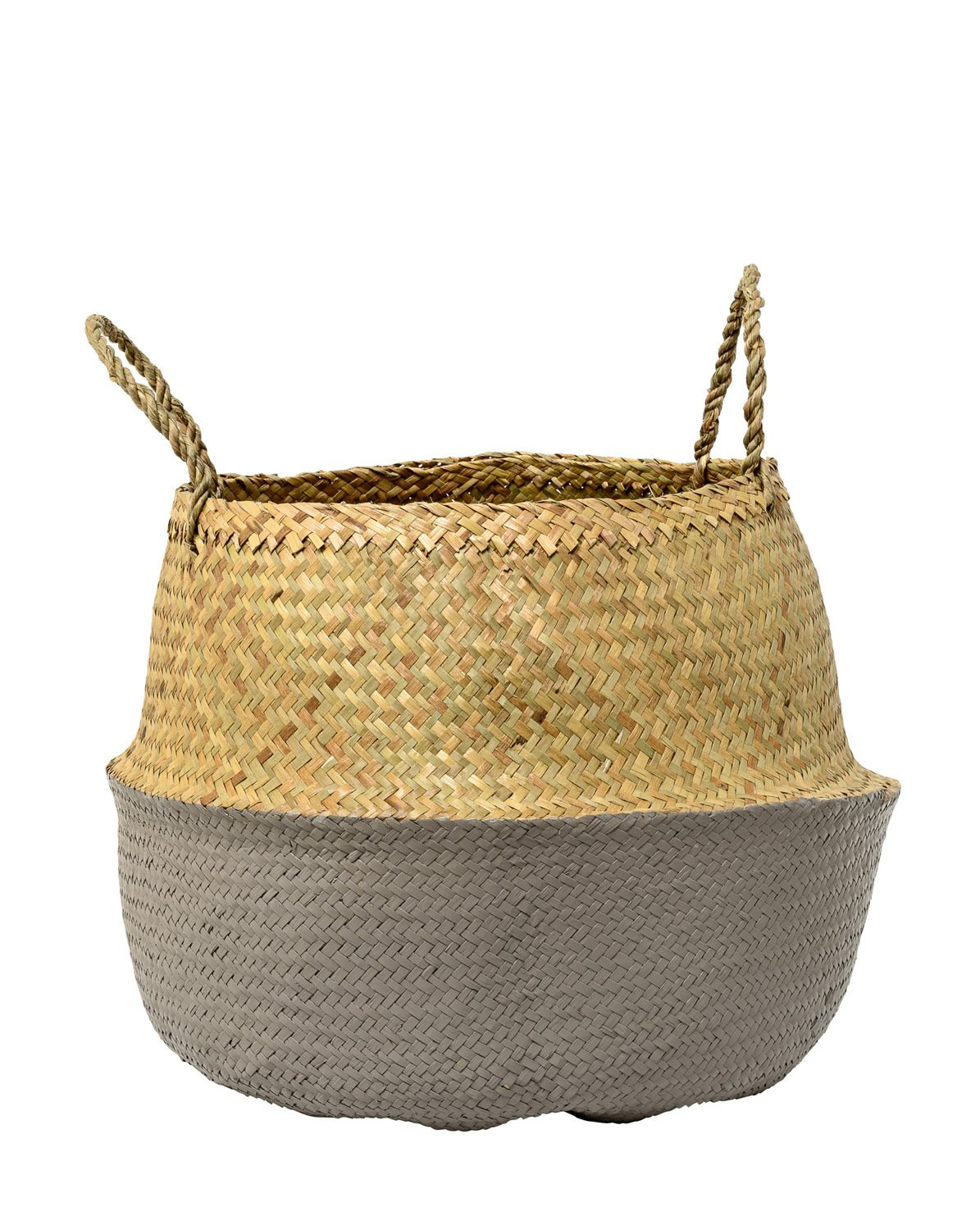 Bloomingville Grey And Natural Seagrass Basket with Handles