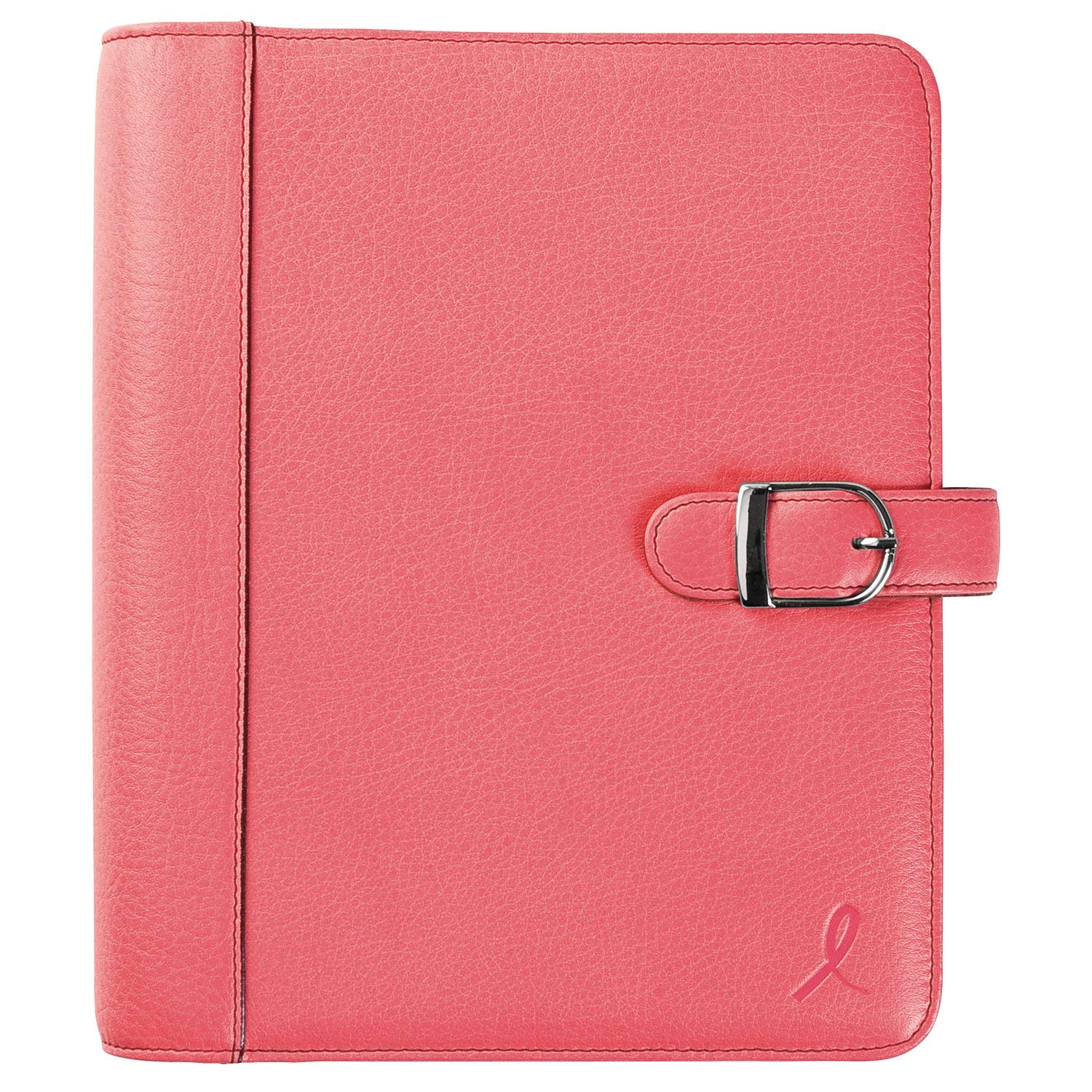 Day-Timer Loose-Leaf Organizer Set, 5-1/2'' x 8-1/2'', Leather Cover, Breast Cancer Awareness Pink Ribbon (48434)