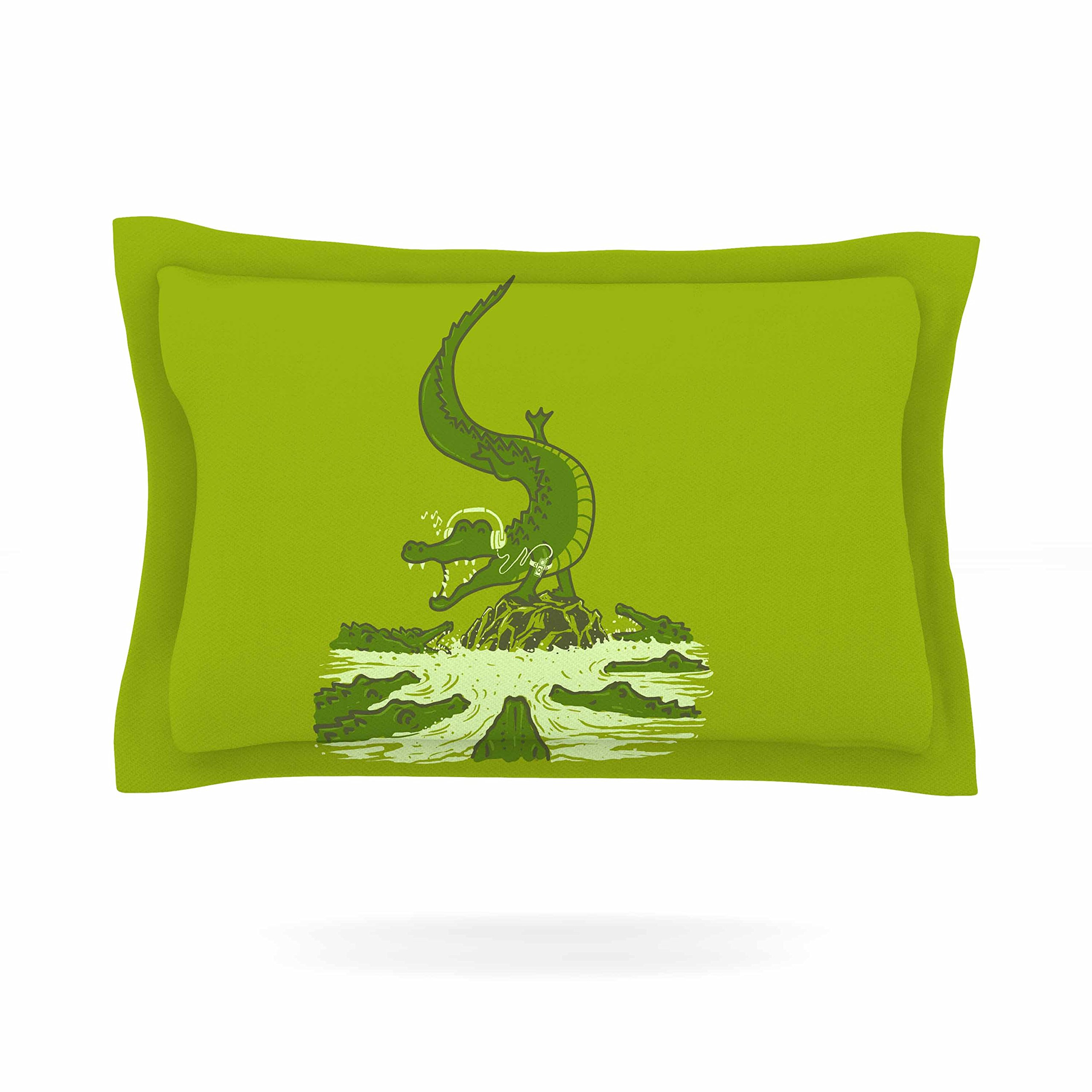 KESS InHouse BarmalisiRTB ''Breakdance Crocodile'' Green Beige Pillow Sham, 30'' x 20''