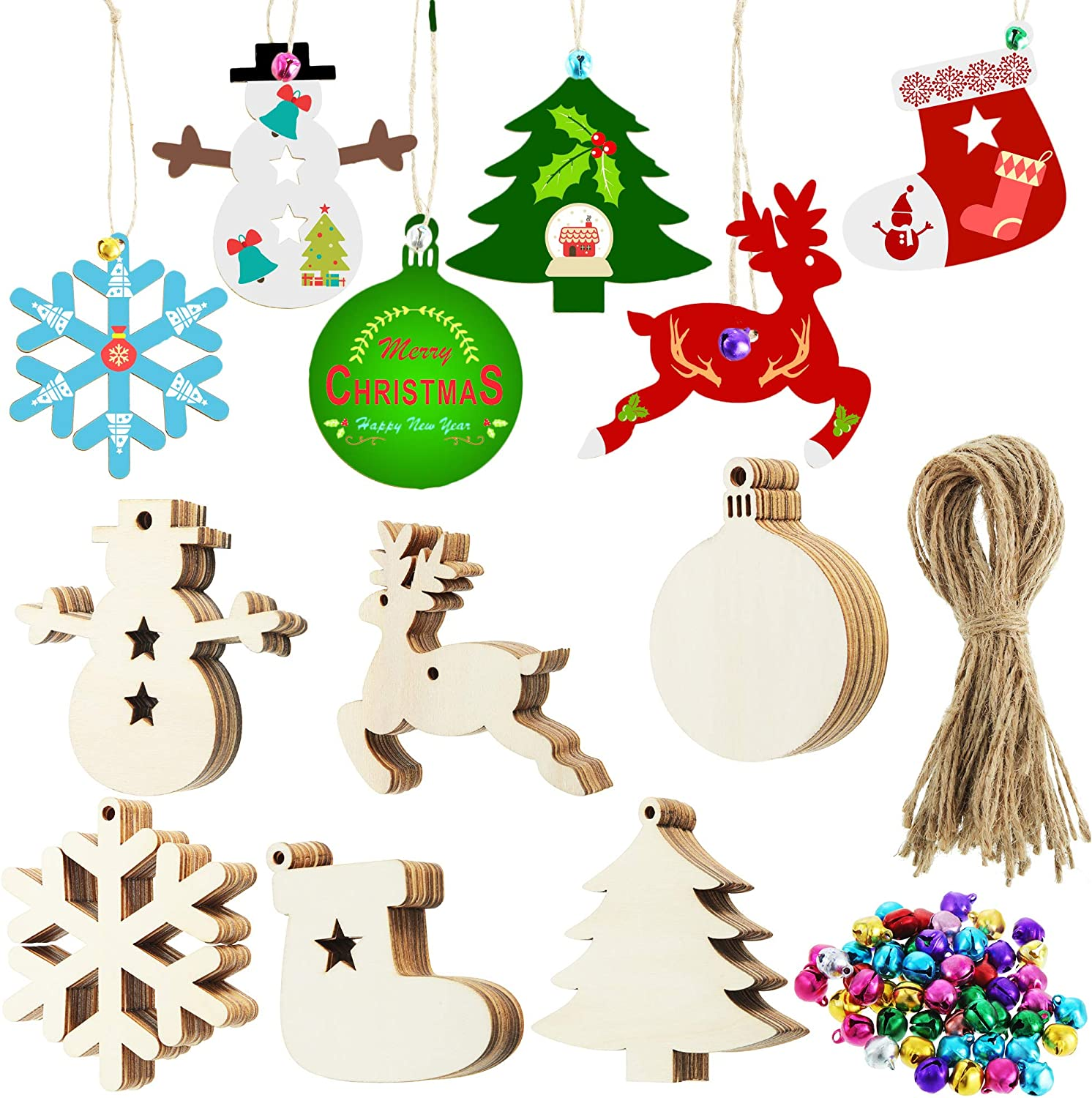 180 Pieces Christmas Ornaments Set, Unfinished Wood Ornaments Christmas Tree Snowflake Snowmen Boots Reindeer Light Bulb Wooden Decorations with Colorful Bells and Rope for Home Party Hanging Decor
