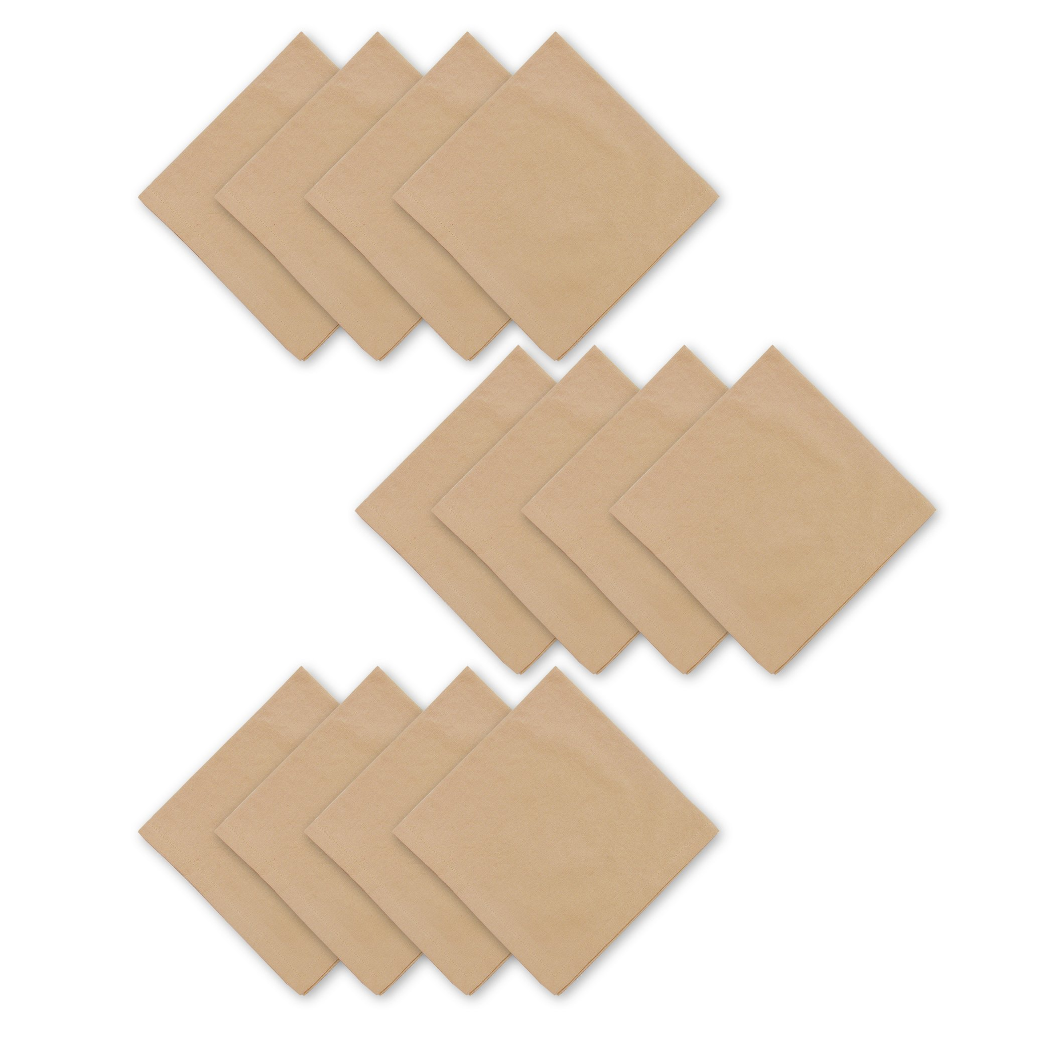 Elrene Home Fashions 026865853254 Solid Cotton Casual Napkin, Set of 12, 18'' x 18'', Almond
