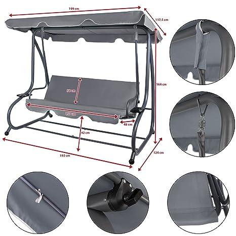 Columpio oscilante de 4 plazas plegable con función de cama RAIVENNA con techo corredizo y función reclinable para 4 personas., Asphaltgrau: Amazon.es: ...