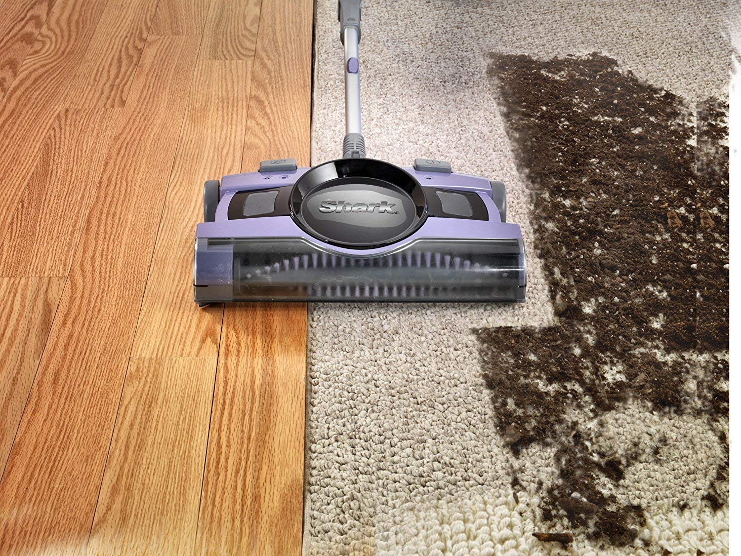 and Two-Speed Brush Roll Shark Ultra-Light Cordless 13-Inch Rechargeable Floor /& Carpet Sweeper with BackSaver Handle V2950 Renewed Motorized Brushroll