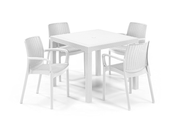 Keter - Set de mobiliario de jardín Quartet/Bali (mesa + 4 sillas), color blanco: Amazon.es: Jardín
