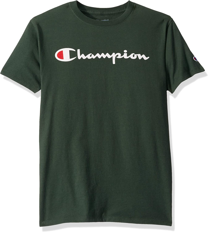 Champion Men's Classic Jersey Script T-Shirt at  Men's Clothing store