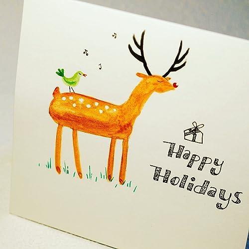 Honey deer hand painted and handmade holiday greeting card amazon honey deer hand painted and handmade holiday greeting card m4hsunfo